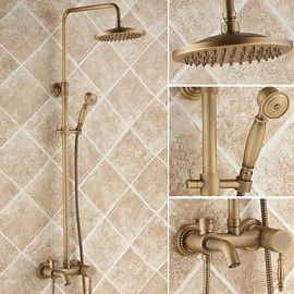 Antique Brass Tub Shower Tap with 8 inch Shower Head + Hand Shower