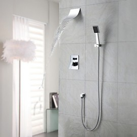 Shower Tap / Bathtub Tap Contemporary Waterfall / Rain Shower / Handshower Included Brass Chrome