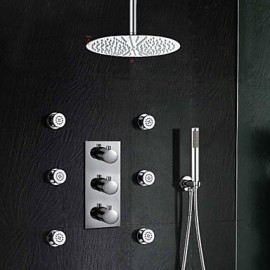 "Luxury Thermostatic Stainless Steel 12"" Bathroom Shower Tap With Jets Sprayer Hand Shower"