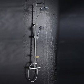 Warpeu Bathroom Rain Shower Set Chrome Brass Shower Mixer with Shower Head and 5 Functions Hand Shower