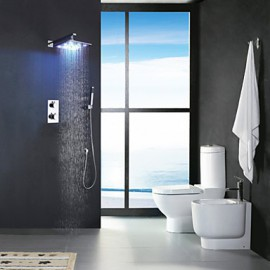 Two Handles Chrome Thermostatic Bathroom Shower Tap, 12 Inch LED Rainfall Shower Head / Brass Hand Shower Included