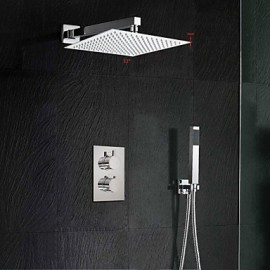 12 Inch Thermostatic Mixer Shower Rainlfall 300mm Ultra-Thin Waterfall Shower and Hand Held