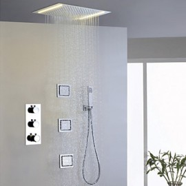 Shower Tap Contemporary LED / Thermostatic / Rain Shower / Sidespray / Handshower Included Brass Chrome