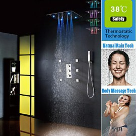 Luxury Thermostatic Spraying And Rain Bathroom Shower Tap Set, 20 Inch 7 Colors 100V~240V AC LED Shower Head