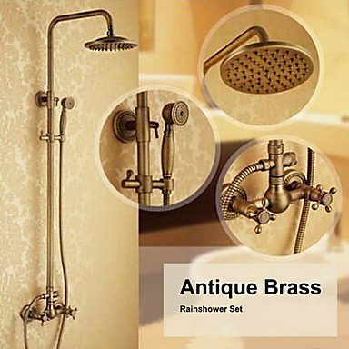 Antique Brass Wall Mounted Two Handle Rain Shower Tap Set With 8