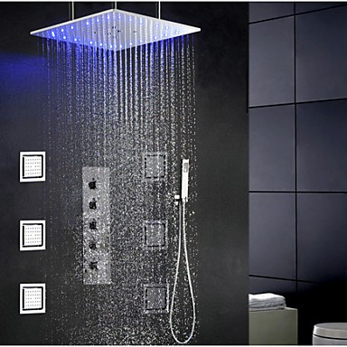 Swash And Rainfall Bathroom LED Shower Tap Set, 20 Inch Ceil Mounted Shower Head And 6 Pcs Big Spa Body Massage Spray