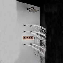 """Phasat? Thermostatic Orb Finish Shower Tap Set, 12"""" Rainfall Shower Head And Spa Body Massage Spray Jets"""